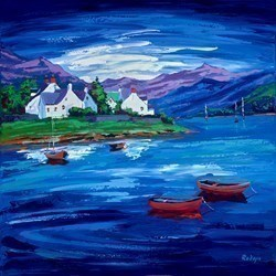 West Coast Blue by Lynn Rodgie -  sized 30x30 inches. Available from Whitewall Galleries